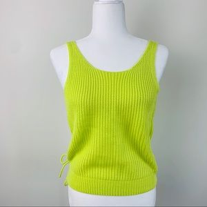 Neon Green Knitted strap backless top
